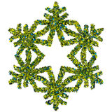 Decorative snowflake made of stars confetti Royalty Free Stock Image