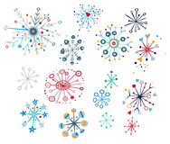 Decorative Snowflakes. Snowflake design elements with creative, whimsical shapes Royalty Free Stock Photo