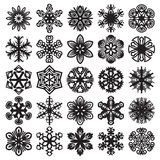 Decorative snowflakes. Black on white. Set 1 Royalty Free Stock Photo