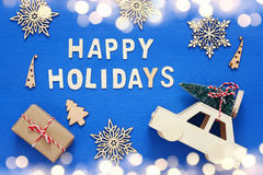 Decorative Snowflakes, Christmas Tree And And Toy Car Royalty Free Stock Photo