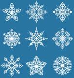 Decorative snowflakes set. Set of nine decorative snowflakes with tribal elements Royalty Free Stock Photo