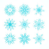 Decorative snowflakes vector set. Royalty Free Stock Images