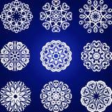 Decorative Snowflakes Vector Set, floral element Royalty Free Stock Photo