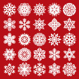 Decorative snowflakes. White on red (set 2) Stock Photography