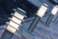 Decorative Solar Garden Light. Garden Design. Solar Powered Lamp Stock Photos