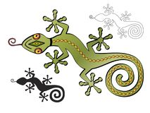 Decorative Southwestern Lizard with Silhouette version stock photo