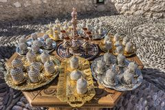 Decorative souvenirs and handicrafts in the Old Town of Mostar in arabic style, Mostar stock photography