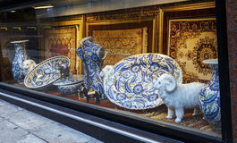 Decorative souvenirs window display ,Istanbul, Turkey. Royalty Free Stock Photo