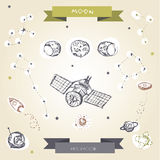 Decorative space collection. Hand drawn galaxy symbols set, vector Stock Photography