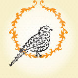 Decorative sparrow. Elegant invitation for life events with hand drawn decorative sparrow Stock Photography