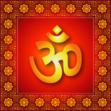 Decorative Spiritual Om Sign. Spiritual Om Sign with Decorative Border Background Stock Photography
