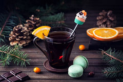 Decorative spoon and Sweets at Christmas time Stock Photo