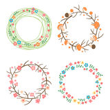 Decorative spring, autumn, summer wreaths. Seasonal concepts framework. Royalty Free Stock Photography