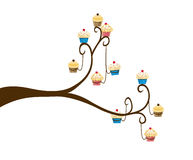 Decorative Spring Branch Tree Silhouette With pancakes Stock Photo