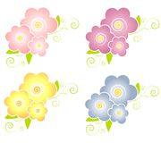 Decorative Spring Flowers Design Elements Royalty Free Stock Photography