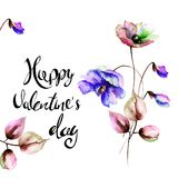 Decorative spring flowers with title Happy Valentine's day. Decorative spring flowers with title Happy Valentine's day, watercolor illustration Royalty Free Stock Photography