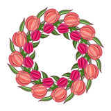 Decorative spring frame with wreath of tulips Royalty Free Stock Image
