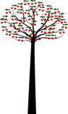 Decorative Spring Tree Silhouette With berries Stock Photography