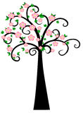 Decorative Spring Tree Silhouette With Green Leaves and pink flower Stock Photos