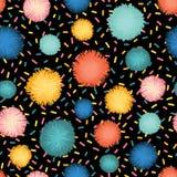 Decorative sprinkles pom poms seamless repeat stock illustration