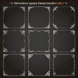 Decorative square frames and borders set 7 vector stock illustration