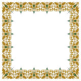 Decorative square ornament with traditional medieval elements on isolated white Royalty Free Stock Photography