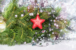 Decorative star. On the background of fir stock photos