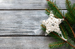 Decorative star on the boards, christmas Stock Images