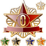 Decorative star set of gold and different colours. Vector Ai file contains a graphic styles. This means that you can type any text or draw any image the same as Royalty Free Stock Image