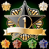 Decorative star set of gold and different colours. Vector Ai file contains a graphic styles. This means that you can type any text or draw any image the same as Stock Photography