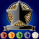 Decorative star set of gold and different colours Royalty Free Stock Image