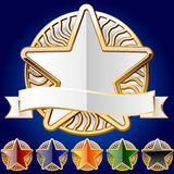 Decorative star set of gold and different colours. An additional  AI file contains a graphic styles. That means that you can type any text or draw any image the Stock Image
