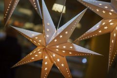 Decorative stars made of paper. Clouse up Stock Images