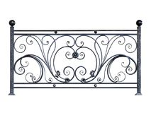 Decorative steel banisters, fence. Decorative steel banisters, fence in old style. Isolated over white background royalty free stock photos
