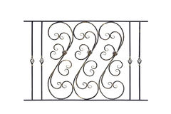 Decorative steel banisters, fence. Decorative, wrought banisters, fence in old style. Isolated over white background stock image