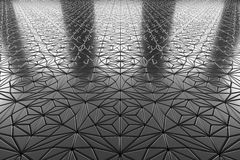 Decorative steel flooring with ornament perspective view Stock Photo