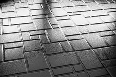 Decorative steel flooring with rectangular plates. Abstract industrial creative metal construction monochrome illustration: decorative steel flooring metal Stock Images