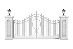 Decorative Steel Gate with Brick Pillars and Lights. 3d Renderin Stock Image