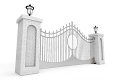 Decorative Steel Gate with Brick Pillars and Lights. 3d Renderin Royalty Free Stock Images