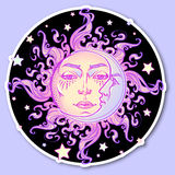 Decorative sticker. Fairytale style hand drawn sun and crescent moon with a human face on a starry night background Stock Photos