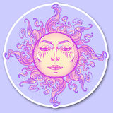 Decorative sticker. Fairytale style hand drawn sun with a human face. Royalty Free Stock Photo