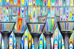 Decorative still life. With glasses, water and refraction effect stock photos