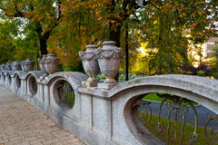 Decorative stone fence of a small square Royalty Free Stock Photo