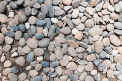 Decorative stone pebble background. round gravel texture garden.  royalty free stock images