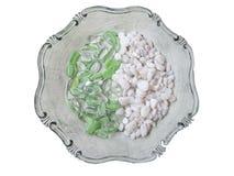 Decorative stones. Decorative green stones with white beach stones Stock Photo