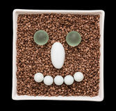 Decorative stones in the smile face shape Stock Images