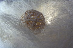Decorative straw ball. Isolated over the white web, one foreshortening stock images