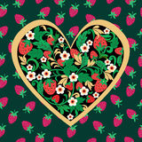Decorative Strawberry folk ornament made of heart shape. Royalty Free Stock Photos