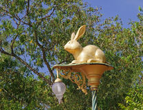 Decorative street lamp with a gold figurine of a rabbit Stock Photography