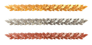 Decorative strip of Laurel branches Stock Photos